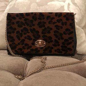 LF Cheetah print crossbody bag gold chain